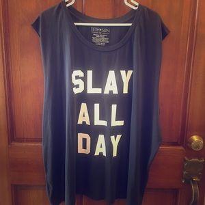 FIFTH SUN ☀️ SLAY ALL DAY Black/White Tank Top